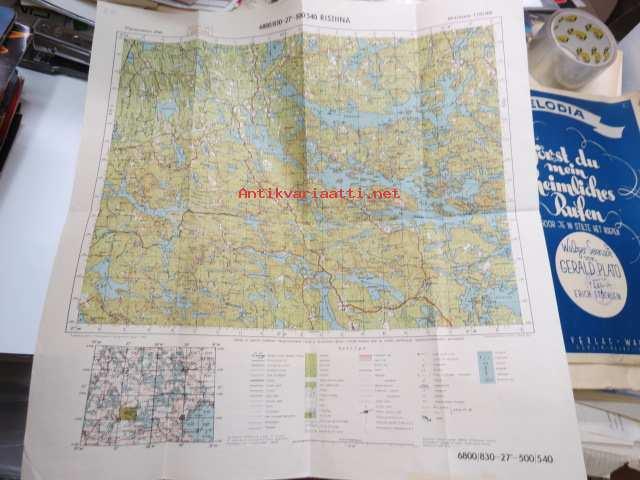 Ristiina 1 100 000 Maanmittaushallitus 1943 Kartta Kunto