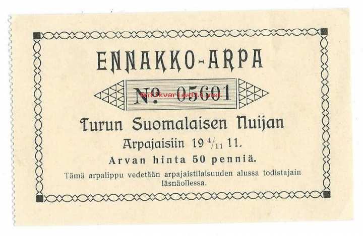 Turun Suomalainen Nuija Ennakko Arpa 4111911 Suomalainen Nuija