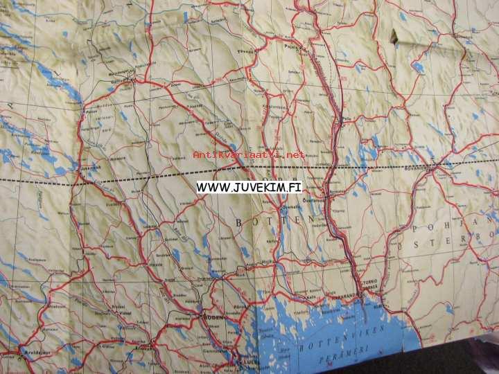 Pohjoiskalotti Nordkalotten Tie Ja Matkailukartta Kartta Kunto