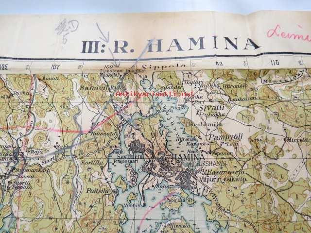 Wiipurin Laani Iii R Hamina Kartta Vuodelta 1932 Kunto