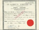Kirby's Limited Stock Certificate 1961, London