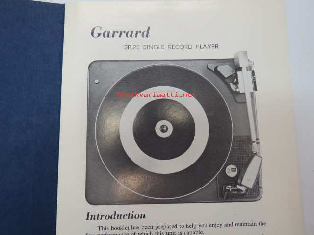 Garrard SP 25 Single Record Player - Instruction Manual -levysoitin,  käyttöohjekirja