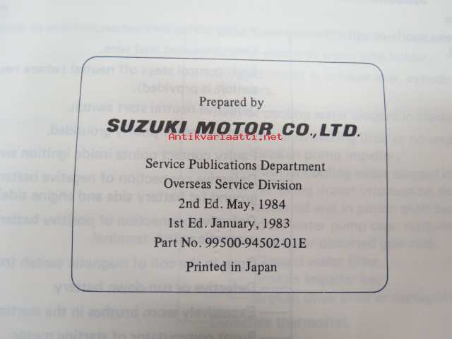 Suzuki DT 115/140 outboard - service manual -perämoottorin huolto-ohjekirja  englanniksi