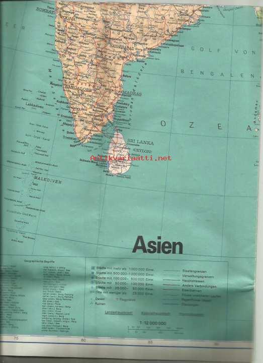 Aasia Kartta N 90x75 Cm Laskostettu Kirjekokoon Kunto Hyva