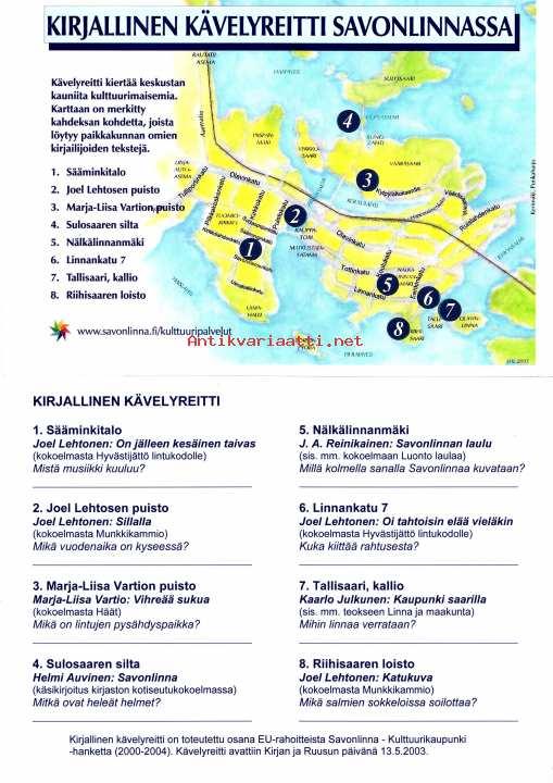 Kirjallinen Kavelyreitti Savonlinnassa Kartta Esite Kunto