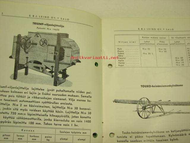E & J Leino Oy Salo Puunjalostustuotteet 1962; Triumf viljanlajittelija