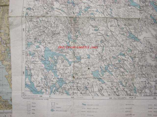 Nurmes Outokumpu Suomen Taloudellinen Kartta 1940 Kartta