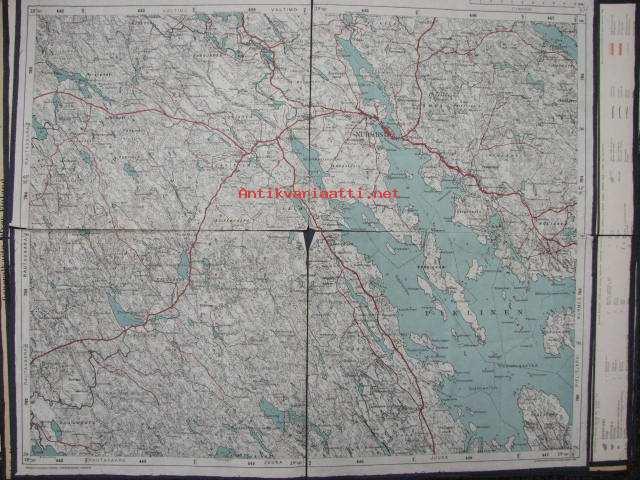 Nurmes Juuka Suomen Taloudellinen Kartta 1940 Pohjustettu