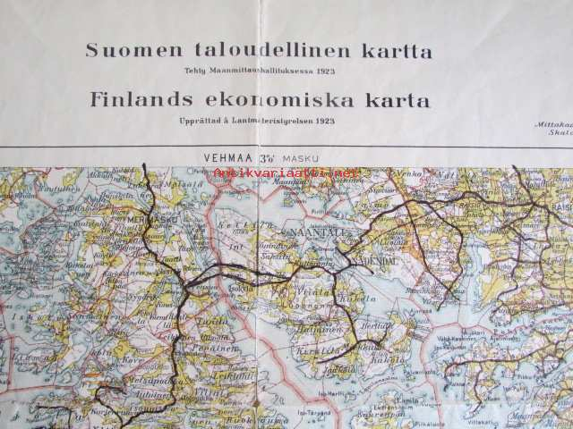 Suomen Taloudellinen Kartta Turku Ja Ymparisto Alueet 1 100 000
