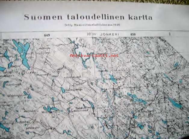Suomen Taloudellinen Kartta Lieksa Kunto Erinomainen 10 00