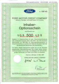 Ford Motor Credit Company Inhaber-Optionsschein 500 USD 1987 -optio