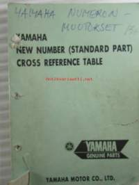Yamaha New number (standard part) Cross reference table, Yamaha genuine parts - Yamaha numeron muutokset