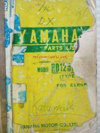 Yamaha parts list model RD125DX ('76) for Europe - Varaosaluettelo katumalli
