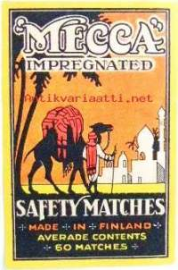 Vientietiketti Mecca Impregnated Safety Matches Made in Finland (7 x 11 cm)