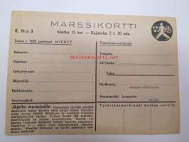 Maaottelumarssi 1941 marssikortti, maaottelumarssikortti, käyttämätön -unused competition card (marching, between Sweden and Finland in 1941)