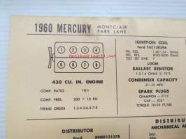 Mercury Montclair, Park Lane 1960 Data sheet / Sun Electric Corporation -säätöarvot taulukko