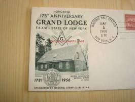 Vapaamuurari Honoring 175th Anniversary Grand Lodge F. & A.M. - State of New York 1956 USA ensipäiväkuori FDC Masonic Stamp Club of N.Y.