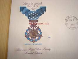 Medal of Honor 1983 USA ensipäiväkuori FDC American Postal Arts Society Limited Edition