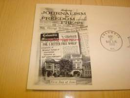 Honoring Journalism and Freedom of the Press 1958 ensipäiväkuori FDC USA neljällä postimerkillä