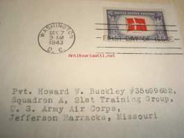 WWII, 2. maailmansota, miehitetyt valtiot: Puola 1943 USA ensipäiväkuori FDC Overrun Country, lähetetty: Pvt. Howard W. Buckley, Squadron A, 21st Training Group,