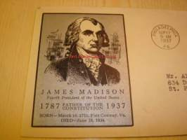 Presidentti James Madison U.S. Constitution 1937 USA ensipäiväkuori