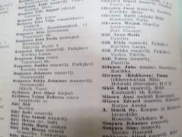 Karjalaisten osoitekalenteri -listing of addresses of the carelians, who were forced to settle to other parts of Finland after the lost (and Soviet take over of
