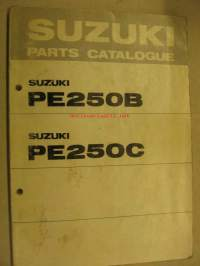 Suzuki PE250B PE250C parts catalogue varaosaluettelo