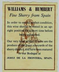 Williams & Humbert Fine Sherry from Spain -etiketti (6 x 8 cm)