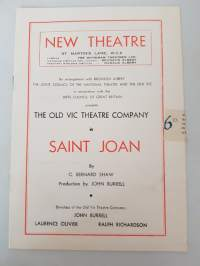 Saint Joan, program New Theatre 1940's by George Shaw production by John Burrell