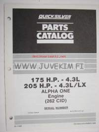 Quicksilver / Mercruiser parts catalog -175 H.P. - 4.3L  205 H.P. - 4.3L/LX Alpha One Engine 262 CID serial numbers US B-527955 and up -varaosaluettel