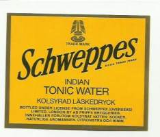 Indian tonic Water   -   juomaetiketti
