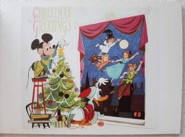 Walt Disney -yhtiön joulukortti.Christmas Greetings Mickey Mouse and Donald Duck