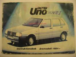 Fiat Uno åm. 1984 instruktionsbook owner´s manual