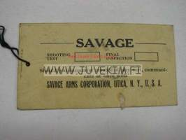 Savage single barrel shotgun -testaus- ja tarkastuslappu
