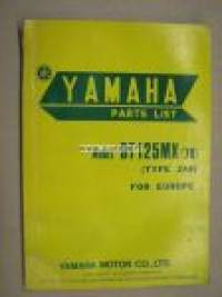 Yamaha DT125MX type 2A8 1978 parts list -varaosaluettelo