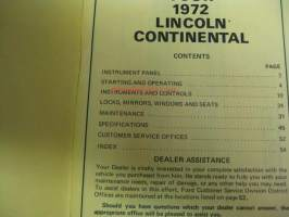 Lincoln Continental 1972 - Owner`s manual