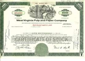 West Virginia Pulp and Paper Company   osakekirja  USA 1966