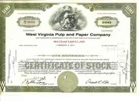 West Virginia Pulp and Paper Company   osakekirja  USA 1960