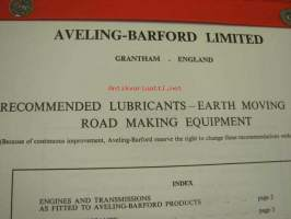 Aveling-Barford recommended lubricants - earth moving and road making equipment -suositellut voiteluaineet