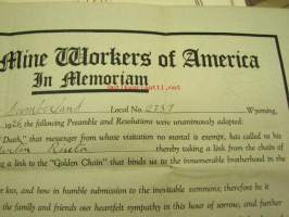 "United Mine Workers of America, Cumberland Local 2337, Martin Riutta - Whereas ""The Angel of Death"", that messenger whom... a page of our records be devoted to"