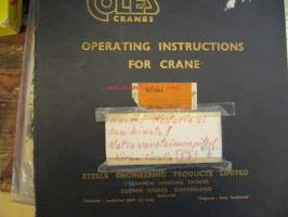 Coles Cranes operating instructions for S.301 serial no 20068