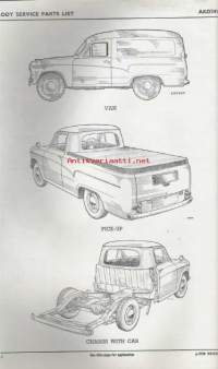 BMC - Austin / Morris ½ - ton vehicles - Body service parts list ( Van - Pick-up - Chassis with cab )