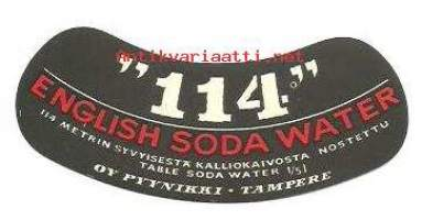 "English Soda Water ""114"" -   juomaetiketti Imatran Valtionhotelli"