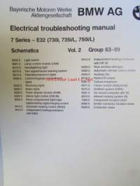 BMW Electrical Troubleshooting Manual, 7 Series E 32, 730i, 735i/L, 750i/L, Models 1989  Vol. 2, Group 63-99, elektroniikan vianmääritys ohjekirja, Katso kuvasta