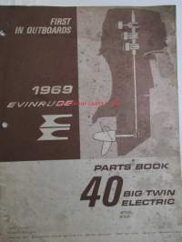 Evinrude 1969 Parts book 40 Big Twin electric  (First in outboards), katso tarkemmat mallimerkinnät kuvista.