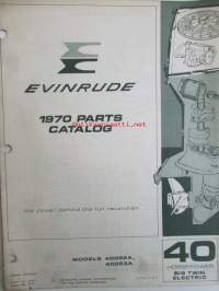 Evinrude 1970 Parts book 40 Horsepower Big Twin Electric  (First in outboards), katso tarkemmat mallimerkinnät kuvista.